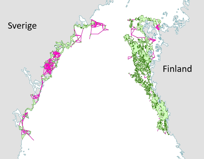 A map of the coastlines of Sweden and Finland, where the connectivity between marine habitats and protected areas is presented with different colours.